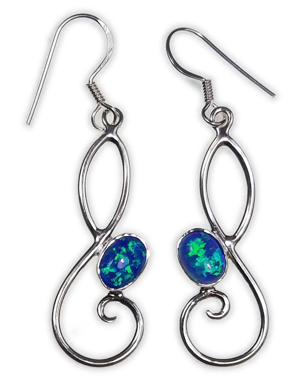 Saels01009 Australian Opal Earrings 925 Sterling Silver