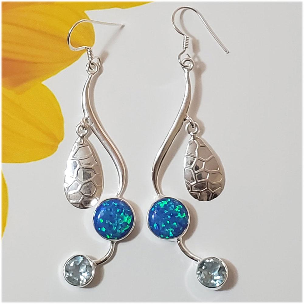 Saels01011 Australian Opal Earrings 925 Sterling Silver