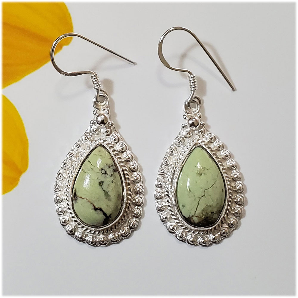 Saels01066 Chrysoprase Earrings 925 Sterling Silver