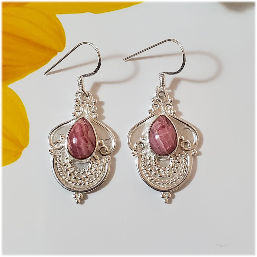 Saels01068 Rhodonite Earrings 925 Sterling Silver