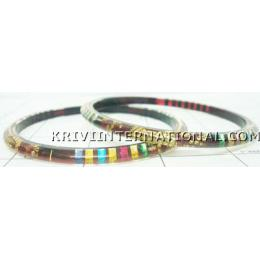 KKLK03065 A pair of acrylic bangles with inbuilt fabric work