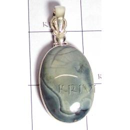 KPLL09160 Beautiful Green Jesper White Metal Pendant