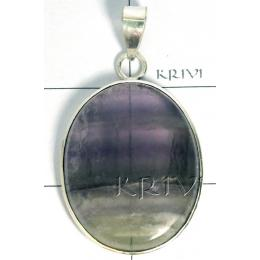 KPLL09165 Exclusive White Metal Flourite Pendant