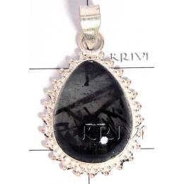 KPLL09168 Wholesale German Silver Black Rutil Pendant