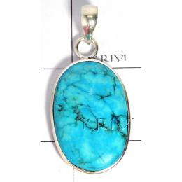 KPLL09169 Genuine White Metal Blue Turquoise Pendant