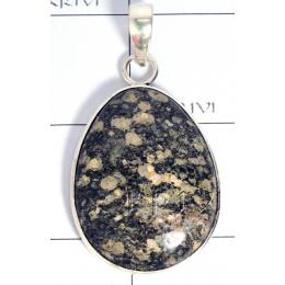 KPLL09171 Exotic White Metal Moss Smoky Quartz Pendant